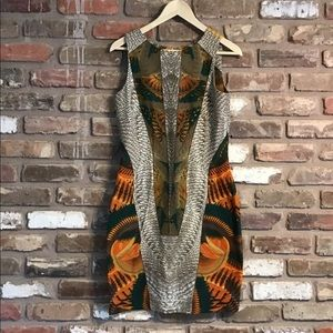 IVANKA TRUMP Sleeveless Stretch Ethnic Dress
